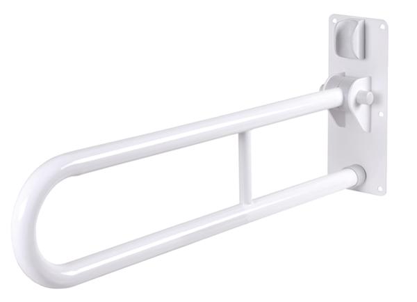 Stützklappgriff, Material: Stahl, Oberfläche: weiß kunststoffbeschichtet, Inhalt pro PE: 1St., Griff-⌀: 32mm, Grifflänge: 750mm, Tiefe hochgeklappt: 200mm, Befestigungsplatte: 100 x 320mm, Belastung max.: 100kg