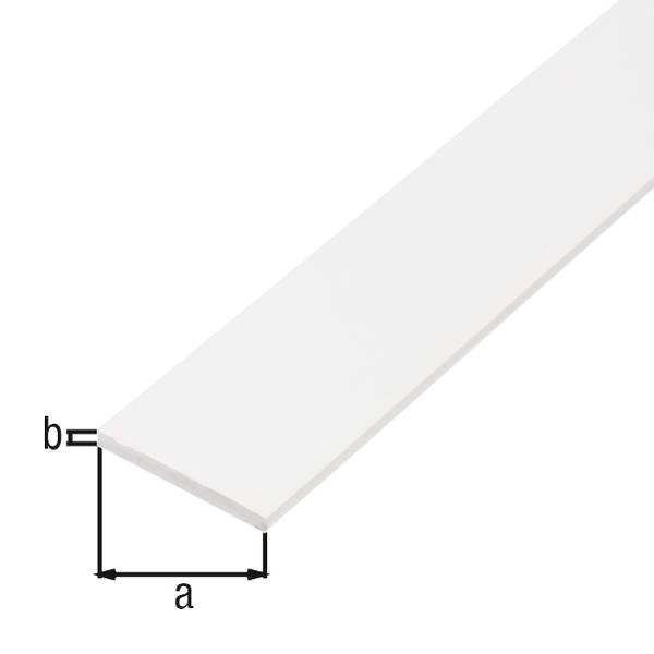 BA-Profil, flach, Material: Aluminium, Oberfläche: weiß kunststoffbeschichtet RAL 9016, Breite: 30mm, Materialstärke: 2mm, Länge: 1000mm