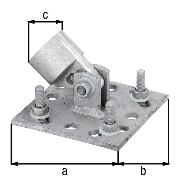 Strebenplatte, Material: Stahl roh, Oberfläche: feuerverzinkt, zum Aufschrauben, Plattenlänge: 100mm, Plattenbreite: 100mm, Auge: 34mm, Loch: ⌀9mm