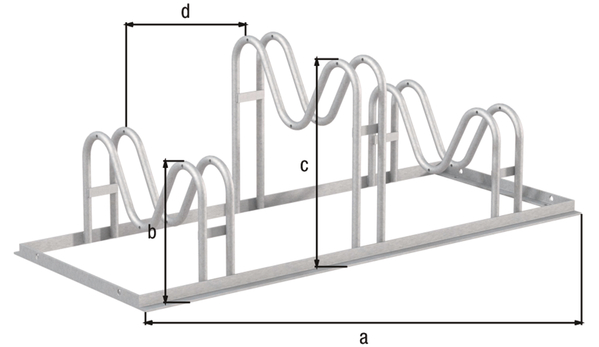 Fahrradständer Ville, freistehend, Material: Stahl roh, Oberfläche: feuerverzinkt passiviert, Haltebügel einseitig, Länge: 1050mm, Höhe Halter: 200mm, Höhe Halter: 340mm, Abstand Mitte - Mitte Halter: 350mm, Gesamtbreite: 446mm, Gesamthöhe: 370mm, Rahmenstärke: 25 x 25mm, Bügel-⌀: 16mm, Anzahl Einstellplätze: 3
