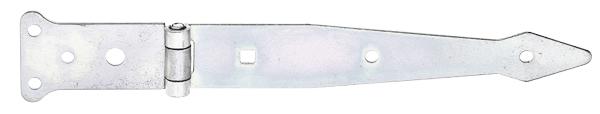 Werfgehänge, mit vernietetem Stift, Material: Stahl roh, Oberfläche: galvanisch gelb verzinkt, Bandlänge: 202mm, Scharnierbreite: 77mm, Scharnierlänge: 48mm, Bandbreite: 35mm, Ausführung: leicht, Materialstärke: 2,50mm, Anzahl Löcher: 5/1/1, Loch: ⌀6/⌀9/7x7mm