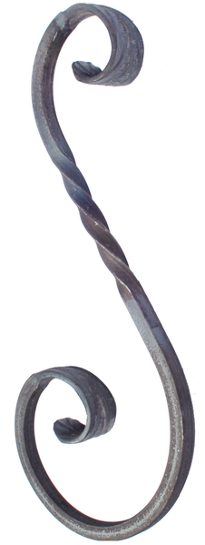 Schnörkel, Typ S, Material: Stahl roh, Höhe Schnörkel: 250mm, Breite Schnörkel: 125mm, Vierkantstab: 8 x 8mm