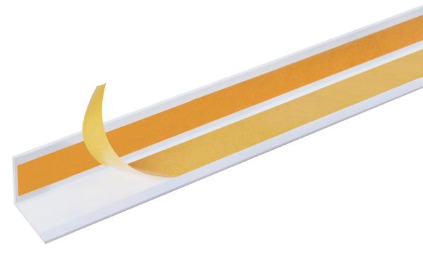 Winkelprofil, selbstklebend, Material: PVC-U, Farbe: weiß, Breite: 20mm, Höhe: 20mm, Materialstärke: 1mm, Ausführung: selbstklebend, Länge: 2600mm