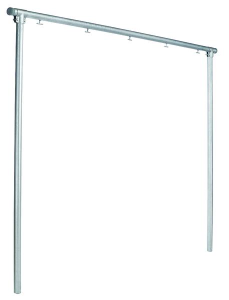 Wäschetrockengerüst, Material: Stahl roh, Oberfläche: verzinkt, zum Einbetonieren, Breite: 3000mm, Gesamthöhe: 2548mm, Rohr-⌀: 48mm, Anzahl Haken: 5