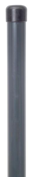 Zaunpfosten,ungebohrt, Material: Stahl roh, Oberfläche: zinkphosphatiert, anthrazit kunststoffbeschichtet RAL 7016, zum Einbetonieren, Länge: 1225mm, Pfosten-⌀: 34mm, 10 Jahre Garantie gegen Durchrosten