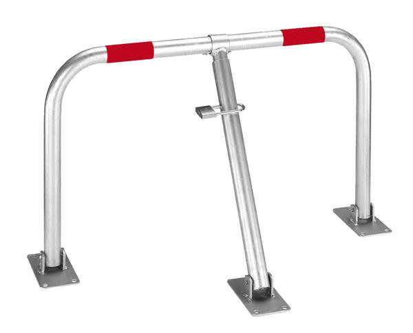 Parkplatzbügel Friedlin, umlegbar, Material: Stahl roh, Oberfläche: feuerverzinkt mit zwei roten, reflektierenden Ringen, zum Aufschrauben, Bügel-⌀: 35mm, Höhe über Boden: 440mm, Breite: 750mm
