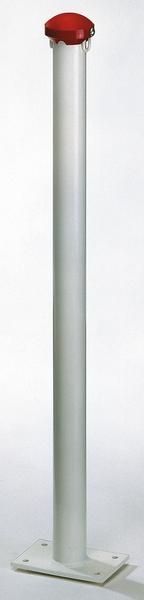 Absperrpfosten Standard GAH, Material: Stahl roh, Oberfläche: verzinkt, weiß kunststoffbeschichtet, zum Aufschrauben, Pfosten-⌀: 60mm, Höhe über Boden: 1000mm, Plattenlänge: 180mm, Plattenbreite: 120mm, Anzahl Ösen: 2