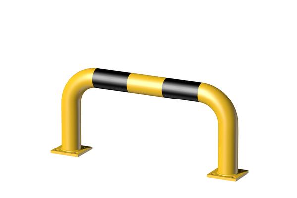 Rammschutz-Bügel, Material: Stahl roh, Oberfläche: grundiert, gelb kunststoffbeschichtet RAL 1018 mit schwarzen, reflektierenden Ringen, zum Aufschrauben, Breite: 750mm, Bügelhöhe: 350mm, Rohr-⌀: 76mm, Bodenplatte: 120 x 120mm, Anzahl Löcher:8, Loch: ⌀16mm