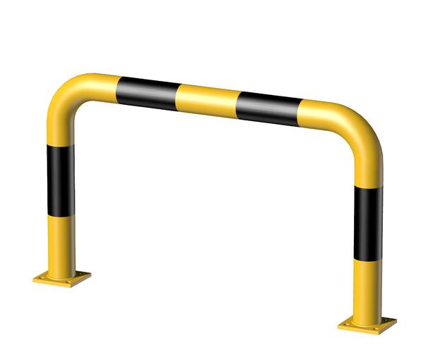 Rammschutz-Bügel, Material: Stahl roh, Oberfläche: grundiert, gelb kunststoffbeschichtet RAL 1018 mit schwarzen, reflektierenden Ringen, zum Aufschrauben, Breite: 1000mm, Bügelhöhe: 600mm, Rohr-⌀: 76mm, Bodenplatte: 120 x 120mm, Anzahl Löcher:8, Loch: ⌀16mm