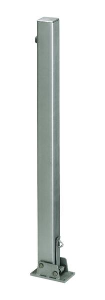 Absperrpfosten Locky, eckig, umlegbar, Material: Stahl roh, Oberfläche: feuerverzinkt passiviert,zumAufschrauben, Pfosten: 70 x 70mm, Höhe über Boden: 1000mm, Plattenlänge: 160mm, Plattenbreite: 100mm