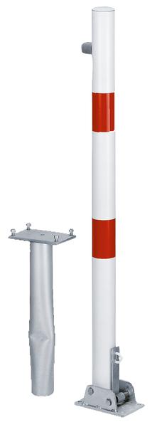 Absperrpfosten Locky-Bo, rund, umlegbar, Material: Stahl roh, Oberfläche: feuerverzinkt passiviert, zum Einbetonieren, Pfosten-⌀: 60mm, Höhe über Boden: 1000mm, Plattenlänge: 160mm, Plattenbreite: 100mm, Bodenhülsen-⌀: 60mm, Länge Bodenhülse: 400mm, Bodenplatte: 150 x 100mm