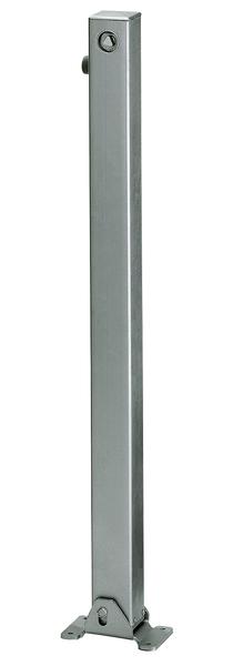 Absperrpfosten Klappy, eckig, umlegbar, Material: Stahl roh, Oberfläche: feuerverzinkt passiviert, zum Aufschrauben, Dreikantschloss ohne Dreikantschlüssel, Pfosten: 70 x 70mm, Höhe über Boden: 1000mm, Plattenlänge: 160mm, Plattenbreite: 100mm