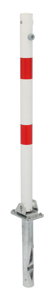 Absperrpfosten Klappy-Bo, rund, umlegbar, Material: Stahl roh, Oberfläche: feuerverzinkt, weiß kunststoffbeschichtet mit zwei roten, reflektierenden Ringen, zum Einbetonieren, Dreikantschloss ohne Dreikantschlüssel, Pfosten-⌀: 60mm, Höhe über Boden: 1000mm, Plattenlänge: 160mm, Plattenbreite: 100mm, Bodenhülsen-⌀: 60mm, Länge Bodenhülse: 400mm, Bodenplatte: 150 x 100mm