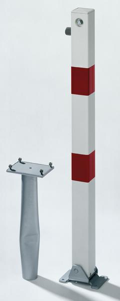 Absperrpfosten Klappy-Bo, eckig, umlegbar, Material: Stahl roh, Oberfläche: feuerverzinkt, weiß kunststoffbeschichtet mit zwei roten, reflektierenden Ringen, zum Einbetonieren, Dreikantschloss ohne Dreikantschlüssel, Pfosten: 70 x 70mm, Höhe über Boden: 1000mm, Plattenlänge: 160mm, Plattenbreite: 100mm, Bodenhülsen-⌀: 60mm, Länge Bodenhülse: 400mm, Bodenplatte: 150 x 100mm