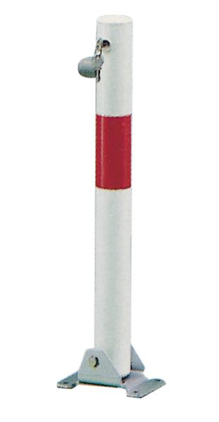 Absperrpfosten Little, rund, umlegbar, Material: Stahl roh, Oberfläche: feuerverzinkt, weiß kunststoffbeschichtet mit einem roten, reflektierenden Ring, zum Aufschrauben, gleichschließendes Profilzylinderschloss mit drei Schlüsseln, Pfosten-⌀: 60mm, Höhe über Boden: 600mm, Plattenlänge: 160mm, Plattenbreite: 100mm