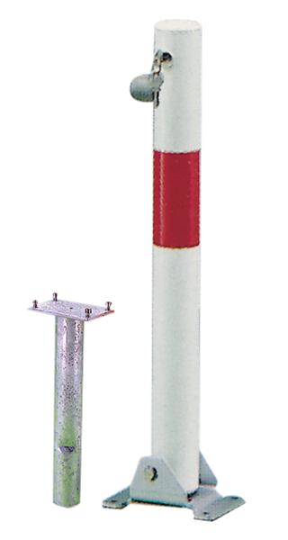 Absperrpfosten Little-Bo, rund, umlegbar, Material: Stahl roh, Oberfläche: feuerverzinkt, weiß kunststoffbeschichtet mit einem roten, reflektierenden Ring, zum Einbetonieren, gleichschließendes Profilzylinderschloss mit drei Schlüsseln, Pfosten-⌀: 60mm, Höhe über Boden: 600mm, Plattenlänge: 160mm, Plattenbreite: 100mm, Bodenhülsen-⌀: 60mm, Länge Bodenhülse: 400mm, Bodenplatte: 150 x 100mm