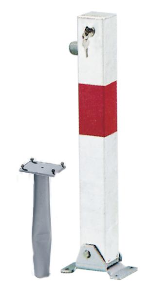 Absperrpfosten Little-Bo, eckig, umlegbar, Material: Stahl roh, Oberfläche: feuerverzinkt, weiß kunststoffbeschichtet mit einem roten, reflektierenden Ring, zum Einbetonieren, gleichschließendes Profilzylinderschloss mit drei Schlüsseln, Pfosten: 70 x 70mm, Höhe über Boden: 600mm, Plattenlänge: 160mm, Plattenbreite: 100mm, Bodenhülsen-⌀: 60mm, Länge Bodenhülse: 400mm, Bodenplatte: 150 x 100mm