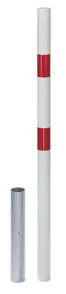 Absperrpfosten Stabo, herausnehmbar, Material: Stahl roh, Oberfläche: feuerverzinkt passiviert, zum Einbetonieren, Pfosten-⌀: 60mm, Höhe über Boden: 1000mm, Bodenhülsen-⌀: 65mm, Länge Bodenhülse: 400mm, Gesamtlänge Pfosten: 1200mm, Anzahl Ösen: 0