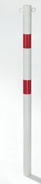 Absperrpfosten Standard SK, rund, Material: Stahl roh, Oberfläche: weiß kunststoffbeschichtet mit zwei roten, reflektierenden Ringen, zum Einbetonieren, Pfosten-⌀: 60mm, Höhe über Boden: 1000mm, Gesamtlänge Pfosten: 1500mm, Anzahl Ösen: 2