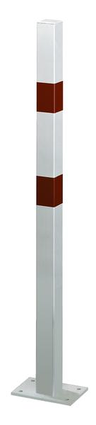 Absperrpfosten Standard SK, eckig, Material: Stahl roh, Oberfläche: feuerverzinkt, weiß kunststoffbeschichtet mit zwei roten, reflektierenden Ringen, zum Aufschrauben, Pfosten: 70 x 70mm, Höhe über Boden: 1000mm, Platte: 120 x 120mm, Anzahl Ösen: 0