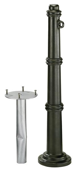 Absperrpoller Antik, Material: Aluminiumguss, Oberfläche: anthrazit-metallic kunststoffbeschichtet, zum Einbetonieren, Pfosten-⌀: 85mm, Höhe über Boden: 950mm, Gesamtlänge Pfosten: 1350mm, Anzahl Ösen: 1