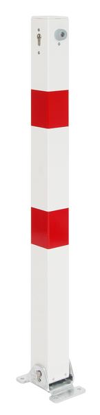 Absperrpfosten Klappy, eckig, umlegbar, Material: Stahl roh, Oberfläche: feuerverzinkt, weiß kunststoffbeschichtet mit zwei roten, reflektierenden Ringen, zum Aufschrauben, ungleichschließendes Profilzylinderschloss mit drei Schlüsseln, Pfosten: 70 x 70mm, Höhe über Boden: 1000mm, Plattenlänge: 160mm, Plattenbreite: 100mm