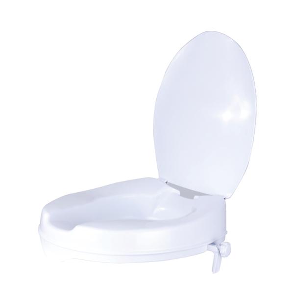 Toilettensitzerhöhung mit Deckel, Material: Kunststoff, Farbe: weiß, Inhalt pro PE: 1St., Zulassung: Europ. Zul./Med.pr.Kl.1 93/42/EWG, Breite: 370mm, Tiefe: 400mm, Erhöhung: 100mm, Belastung max.: 130kg