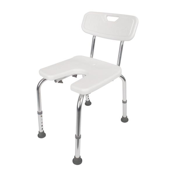 Duschstuhl, U-Form, höhenverstellbar, Material: Kunststoff, Farbe: weiß, Inhalt pro PE: 1St., Sitzbreite: 400mm, Sitztiefe: 380mm, min. Sitzhöhe: 420mm, max. Sitzhöhe: 520mm, Belastung max.: 110kg