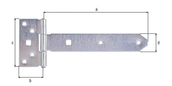 Kreuzgehänge, mit vernietetem Stift, Material: Stahl roh, Oberfläche: galvanisch gelb verzinkt, Bandlänge: 192mm, Scharnierbreite: 45mm, Scharnierlänge: 90mm, Bandbreite: 34mm, Ausführung: leicht, Materialstärke: 2,00mm, Anzahl Löcher: 6/2, Loch: ⌀6,5/9x9mm