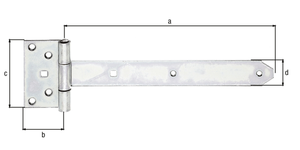 Kreuzgehänge, mit vernietetem Stift, Material: Stahl roh, Oberfläche: galvanisch gelb verzinkt, Bandlänge: 291mm, Scharnierbreite: 59mm, Scharnierlänge: 103mm, Bandbreite: 40mm, Ausführung: schwer, Materialstärke: 3,50mm, Anzahl Löcher: 6/2, Loch: ⌀6,5/9x9mm