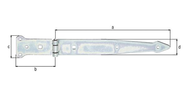 Werfgehänge, mit vernietetem Stift, Material: Stahl roh, Oberfläche: galvanisch gelb verzinkt, Bandlänge: 300mm, Scharnierbreite: 101mm, Scharnierlänge: 63mm, Bandbreite: 45mm, Ausführung: schwer, Materialstärke: 3,20mm, Anzahl Löcher: 5/2, Loch: ⌀6/9x9mm