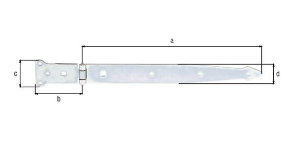 Werfgehänge, mit vernietetem Stift, Material: Stahl roh, Oberfläche: galvanisch gelb verzinkt, Bandlänge: 400mm, Scharnierbreite: 101mm, Scharnierlänge: 63mm, Bandbreite: 45mm, Ausführung: schwer, Materialstärke: 3,60mm, Anzahl Löcher: 6/2, Loch: ⌀6/9x9mm