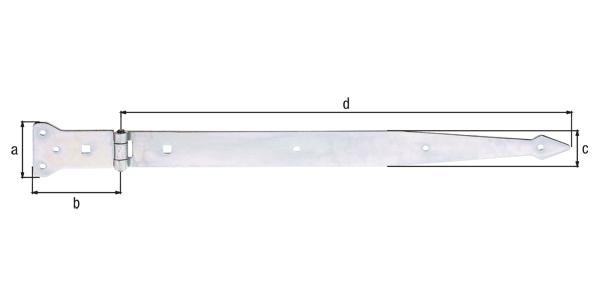 Werfgehänge, mit vernietetem Stift, Material: Stahl roh, Oberfläche: galvanisch gelb verzinkt, Bandlänge: 500mm, Scharnierbreite: 101mm, Scharnierlänge: 63mm, Bandbreite: 45mm, Ausführung: schwer, Materialstärke: 3,75mm, Anzahl Löcher: 6/2, Loch: ⌀6/9x9mm