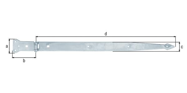 Werfgehänge, mit vernietetem Stift, Material: Stahl roh, Oberfläche: galvanisch gelb verzinkt, Bandlänge: 600mm, Scharnierbreite: 101mm, Scharnierlänge: 63mm, Bandbreite: 45mm, Ausführung: schwer, Materialstärke: 3,75mm, Anzahl Löcher: 6/2, Loch: ⌀6/9x9mm