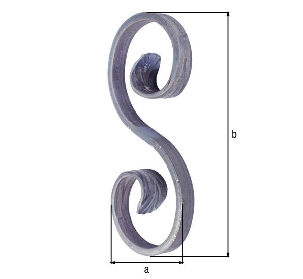 Schnörkel, Typ S, Material: Stahl roh, Höhe Schnörkel: 155mm, Breite Schnörkel: 72mm, Vierkantstab: 12 x 5mm