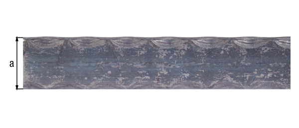 Handlaufprofil, Schmiedeeisen, Material: Stahl roh, Breite: 40mm, Höhe: 8mm, Ausführung: gehämmert, Länge: 2000mm