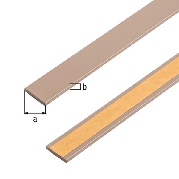 Flachstange, selbstklebend, beschichtet in Trendfarben, Material: Aluminium, Oberfläche: macchiato kunststoffbeschichtet, Breite: 14,5mm, Materialstärke: 1,5mm, Länge: 1150mm