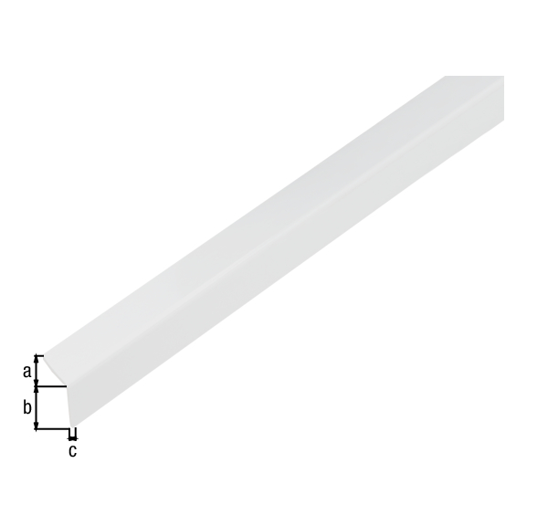 Winkelprofil, selbstklebend, Material: PVC-U, Farbe: weiß glänzend, Breite: 20mm, Höhe: 20mm, Materialstärke: 1,5mm, Ausführung: selbstklebend, Länge: 1000mm