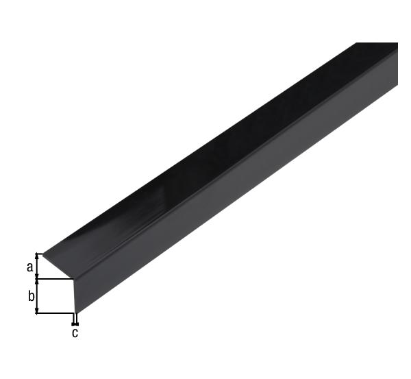 Winkelprofil, selbstklebend, Material: PVC-U, Farbe: schwarz glänzend, Breite: 20mm, Höhe: 20mm, Materialstärke: 1,5mm, Ausführung: selbstklebend, Länge: 1000mm