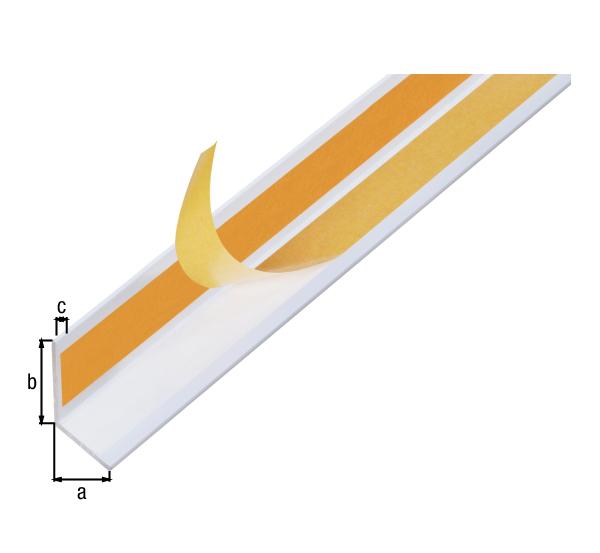 Winkelprofil, selbstklebend, Material: Aluminium, Oberfläche: weiß kunststoffbeschichtet RAL 9016, Breite: 20mm, Höhe: 20mm, Materialstärke: 1,5mm, Ausführung: selbstklebend, Länge: 1000mm