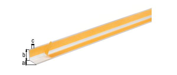 Winkelprofil, selbstklebend, Material: Aluminium, Oberfläche: silberfarbig eloxiert, Breite: 20mm, Höhe: 20mm, Materialstärke: 1,5mm, Ausführung: selbstklebend, Länge: 1000mm