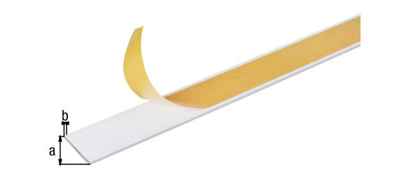 Flachstange, selbstklebend, Material: Aluminium, Oberfläche: weiß kunststoffbeschichtet RAL 9016, Breite: 20mm, Materialstärke: 2mm, Ausführung: selbstklebend, Länge: 1000mm