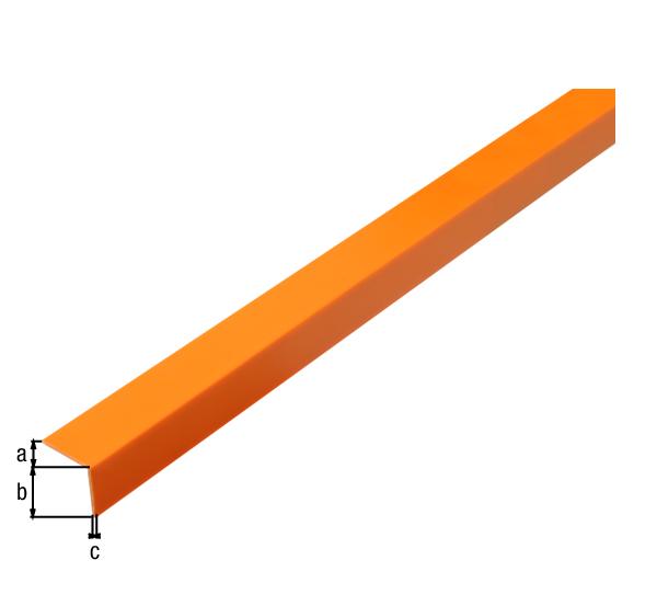 Winkelprofil, selbstklebend, Material: PVC-U, Farbe: orange, Breite: 20mm, Höhe: 20mm, Materialstärke: 1,5mm, Ausführung: selbstklebend, Länge: 2600mm