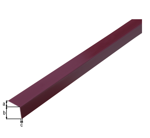 Winkelprofil, selbstklebend, Material: PVC-U, Farbe: violett, Breite: 20mm, Höhe: 20mm, Materialstärke: 1,5mm, Ausführung: selbstklebend, Länge: 2600mm