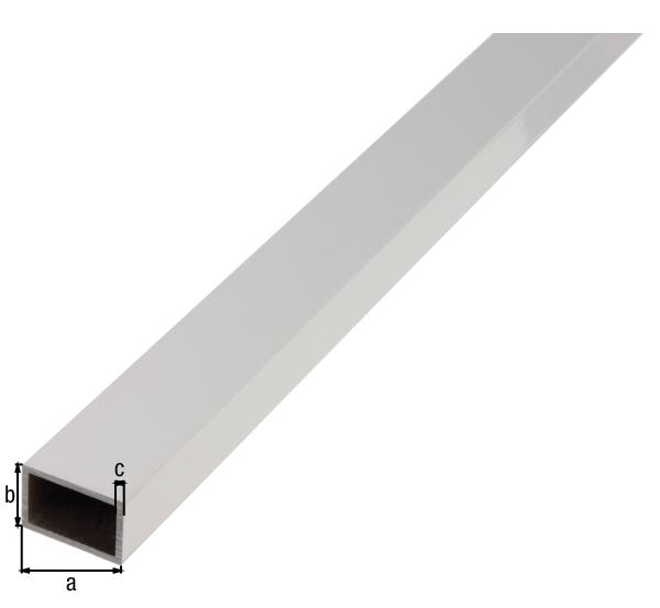 BA-Profil, Rechteck, Material: Aluminium, Oberfläche: weiß kunststoffbeschichtet RAL 9016, Breite: 30mm, Höhe: 20mm, Materialstärke: 2mm, Länge: 2000mm