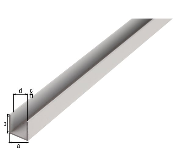 BA-Profil, U-Form, Material: Aluminium, Oberfläche: weiß kunststoffbeschichtet RAL 9016, Breite: 10mm, Höhe: 10mm, Materialstärke: 1mm, lichte Breite: 8mm, Länge: 2000mm