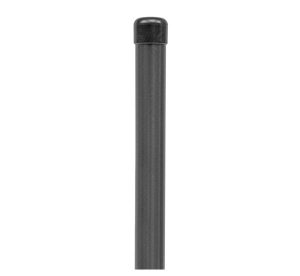 Zaunpfosten,ungebohrt, Material: Stahl roh, Oberfläche: zinkphosphatiert, anthrazit-metallic kunststoffbeschichtet, zum Einbetonieren, Länge: 1225mm, Pfosten-⌀: 34mm, 10 Jahre Garantie gegen Durchrosten