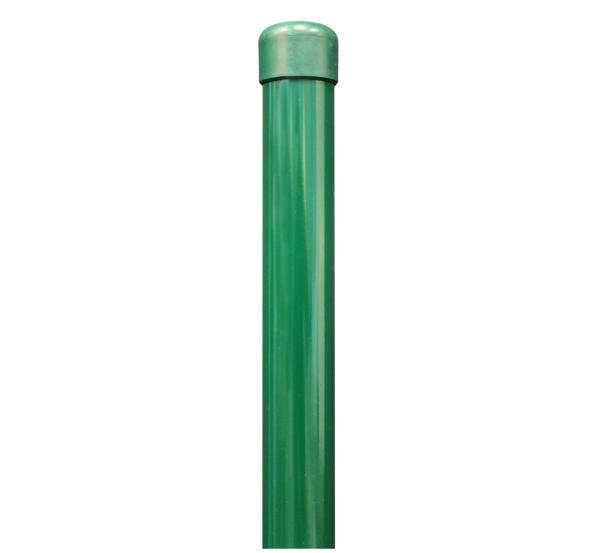 Zaunpfosten,ungebohrt, für Einschlag-Bodenhülsen, Material: Stahl roh, Oberfläche: zinkphosphatiert, grün kunststoffbeschichtet RAL 6005, Länge: 965mm, Pfosten-⌀: 34mm, 10 Jahre Garantie gegen Durchrosten