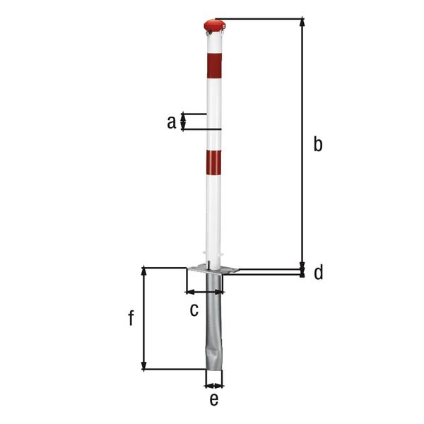 Absperrpfosten Grünenthal, umlegbar, Material: Stahl roh, Oberfläche: feuerverzinkt, weiß kunststoffbeschichtet mit zwei roten, reflektierenden Ringen, zum Einbetonieren, für Profilzylinderschloss vorgerichtet, Pfosten-⌀: 60mm, Höhe über Boden: 1000mm, Plattenlänge: 160mm, Plattenbreite: 100mm, Bodenhülsen-⌀: 60mm, Länge Bodenhülse: 400mm, Bodenplatte: 150 x 100mm, Anzahl Ösen: 0, Anzahl Notglieder: 0