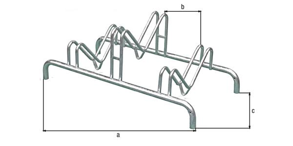 Mehrfach-Fahrradständer, freistehend, Material: Stahl roh, Oberfläche: feuerverzinkt passiviert, Rahmen mit Bohrungen zum Aufschrauben, Länge: 1000mm, Abstand Mitte - Mitte Halter: 300mm, Tiefe: 515mm, Rahmenstärke-⌀: 28mm, Bügel-⌀: 16mm, Anzahl Einstellplätze: 3